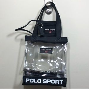 Vintage Polo Sport Clear Tote & Coin Pouch